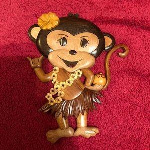 Wooden Hawaiian Luau Monkey